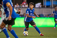 SAN JOSE, CA - SEPTEMBER 4: Javier Eduardo Lopez #9 of the San Jose Earthquakes dribbles the ball during a game between Colorado Rapids and San Jose Earthquakes at PayPal Park on September 4, 2021 in San Jose, California.