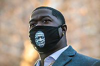 MARCH 29 - Minneapolis, MN: George's nephew Brandon Williams speaks outside the Hennepin County Courthouse before the start Derek Chauvin Trial on March 29, 2021 in  Minneapolis, Minnesota. <br /> CAP/MPI/IS/CT<br /> ©CT/IS/MPI/Capital Pictures