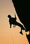 Silhouette of a rock climber, Catavina Desert, Baja del Norte, Mexico