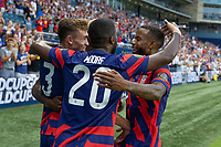 KANSAS CITY, KS - JULY 11: Sam Vines #3 of the United States scores a goal and celebrates with Shaq Moore, Gyasi Zardes, Kellyn Acosta during a game between Haiti and USMNT at Children's Mercy Park on July 11, 2021 in Kansas City, Kansas.