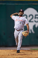 Louisville Bats relief pitcher Dayan Diaz (31) warms up in the bullpen during a game against the Buffalo Bisons on June 20, 2016 at Coca-Cola Field in Buffalo, New York.  Louisville defeated Buffalo 4-1.  (Mike Janes/Four Seam Images)