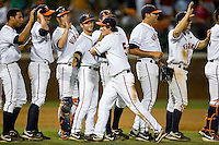 Phil Gosselin #5 celebrates with his Virginia Cavaliers teammates after winning the championship game of the Charlottesville Regional at Davenport Field on June 5, 2010, in Charlottesville, Virginia.  The Cavaliers defeated the Red Storm 5-3.  Photo by Brian Westerholt / Four Seam Images
