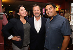 Kristen Anderson-Lopez and Robert Lopez with Rob Ashford during his portrait unveiling for the Sardi's Wall of Fame on October 10, 2018 at Sardi's Restaurant in New York City.