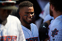 Inland Empire 66ers shortstop Luis Rengifo (3) during a California League game against the Lancaster JetHawks at San Manuel Stadium on May 20, 2018 in San Bernardino, California. Inland Empire defeated Lancaster 12-2. (Zachary Lucy/Four Seam Images)