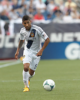 LA Galaxy defender Sean Franklin (5) looks to pass. In a Major League Soccer (MLS) match, the New England Revolution (blue) defeated LA Galaxy (white), 5-0, at Gillette Stadium on June 2, 2013.