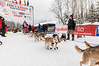 Aliy Zirkle leaves the start line during the restart of the 2019 Iditarod race in Willow, Alaska on Sunday March 3, 2019.<br /> <br /> Photo by Jeff Schultz/  (C) 2019  ALL RIGHTS RESERVED