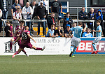 Forfar v St Johnstone…28.07.18…  Station Park    Betfred Cup<br />John Baird scores for Forfar<br />Picture by Graeme Hart. <br />Copyright Perthshire Picture Agency<br />Tel: 01738 623350  Mobile: 07990 594431