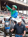 Aug. 8, 2011.Creative Cause ridden by Rafael Bejarano in the winner's circle after winning the Best Pal Stakes at the Del Mar Thoroughbred Club, Del Mar, CA