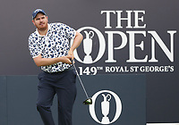 13th July 2021; The Royal St. George's Golf Club, Sandwich, Kent, England; The 149th Open Golf Championship, practice day; Deyen Lawson (AUS) plays his tee shot on the 1st hole