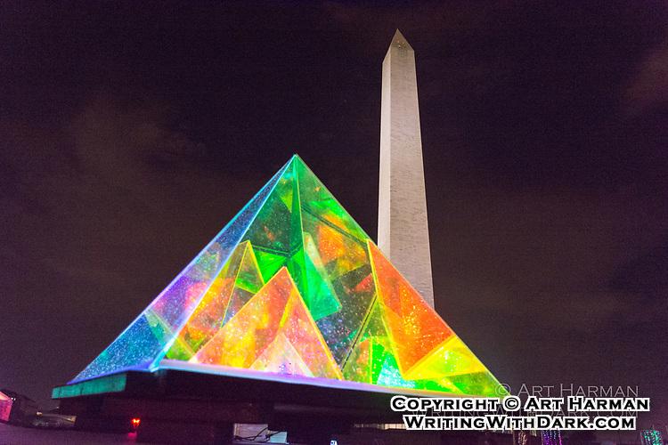 "Art at the Washington Monument by Art Harman. At ""Catharsis on the Mall, a mini-Burning Man."""