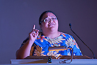 Koreti Tiumal Pacific Island Climate Activist at Harvard Heat Week calling on Harvard University to divest from Fossil Fuels at First Parish Church Cambridge MA 4.12.15