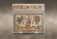 Picture of a Roman mosaics design depicting an owl, symbol of victory over envy. On either side of the Owl are symbols of Telegenii an North African Roman association. From the ancient Roman city of Thysdrus. 3rd century AD. El Djem Archaeological Museum, El Djem, Tunisia. Against an art background