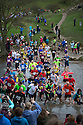02/11/14<br /> <br /> Runners competing in the Dovedale Dash, cross the river Dove near Ashbourne, Derbyshire. The annual race, where runners can either cross the famous stepping stones or run through the water, saw 1,100 competitors take on a four and three quarter mile cross-country course in the Peak District.<br /> <br /> All Rights Reserved - F Stop Press.  www.fstoppress.com. Tel: +44 (0)1335 300098