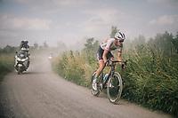 eventual winner Krists Neilands (LAT/Israel Cycling Academy) solo's on after Sean de Bie had to drop out after a flat tire<br /> <br /> 3rd Dwars Door Het hageland 2018 (BEL)<br /> 1 day race:  Aarschot > Diest: 198km