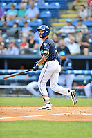 Asheville Tourists Joe Perez (8) watches a fly ball during a game against the Bowling Green Hot Rods on May 27, 2021 at McCormick Field in Asheville, NC. (Tony Farlow/Four Seam Images)