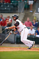 Arkansas Travelers first baseman Wade Hinkle (16) at bat during a game against the Corpus Christi Hooks on May 29, 2015 at Dickey-Stephens Park in Little Rock, Arkansas.  Corpus Christi defeated Arkansas 4-0 in a rain shortened game.  (Mike Janes/Four Seam Images)