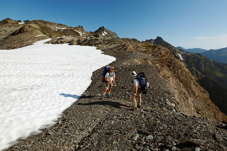 Backpackers at Bear Pass, Bailey Range Traverse, Olympic Mountains, Washington