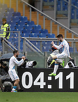 Napoli's Dries Mertens, right, celebrates with his teammate Lorenzo Insigne after scoring his second goal during the Italian Serie A football match between Roma and Napoli at Rome's Olympic stadium, 4 March 2017. <br /> UPDATE IMAGES PRESS/Isabella Bonotto