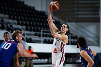 22nd February 2021, Podgorica, Montenegro; Eurobasket International Basketball qualification for the 2022 European Championships, England versus France;  Thomas Heurtel of France sky hooks