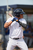 GCL Yankees East designated hitter Jonathan Amundaray (60) at bat during the first game of a doubleheader against the GCL Blue Jays on July 24, 2017 at the Yankees Minor League Complex in Tampa, Florida.  GCL Blue Jays defeated the GCL Yankees East 6-3 in a game that originally started on July 8th.  (Mike Janes/Four Seam Images)