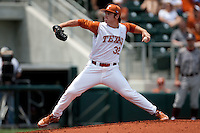 Texas Longhorns pitcher Dillon Peters #32 delivers during the NCAA baseball game against the Texas A&M Aggies on April 29, 2012 at UFCU Disch-Falk Field in Austin, Texas. The Longhorns beat the Aggies 2-1 in the last ever regular season game scheduled for the long time rivals. (Andrew Woolley / Four Seam Images).