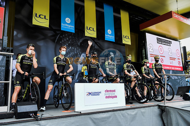 Mitchelton-Scott at the Team Presentation before the start of Stage 1 of Criterium du Dauphine 2020, running 218.5km from Clermont-Ferrand to Saint-Christo-en-Jarez, France. 12th August 2020.<br /> Picture: ASO/Alex Broadway | Cyclefile<br /> All photos usage must carry mandatory copyright credit (© Cyclefile | ASO/Alex Broadway)
