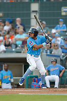 Myrtle Beach Pelicans outfielder Jose Gutierrez (5) at bat during a game against the Potomac Nationals at Ticketreturn.com Field at Pelicans Ballpark on July 19, 2018 in Myrtle Beach, South Carolina. Potomac defeated Myrtle Beach 6-3. (Robert Gurganus/Four Seam Images)