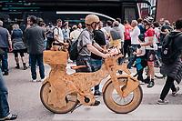 wooden bike at the start<br /> <br /> stage 15: Tolmezzo – Sappada (176 km)<br /> 101th Giro d'Italia 2018