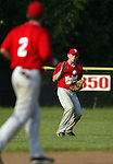WOLCOTT, CT, 06 JULY 2011-070611JS07---Gregg Jackson (3) plays the ball on a hop as teammate Mike Vaccarelli (2) looks on during their American Legion game against Torrington Wednesday at Wolcott High School.<br /> Jim Shannon/Republican-American