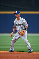 Biloxi Shuckers second baseman Nick Shaw (1) during the second game of a double header against the Pensacola Blue Wahoos on April 26, 2015 at Pensacola Bayfront Stadium in Pensacola, Florida.  Pensacola defeated Biloxi 2-1.  (Mike Janes/Four Seam Images)