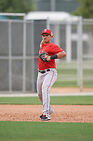 Boston Red Sox Stanley Espinal (16) throws to first base during a minor league Spring Training game against the Canada Junior National Team on March 31, 2017 at JetBlue Park in Fort Myers, Florida. (Mike Janes/Four Seam Images)