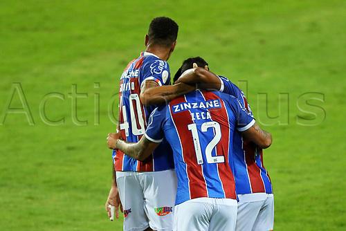 16th November 2020; Couto Pereira Stadium, Curitiba, Brazil; Brazilian Serie A, Coritiba versus Bahia; Zeca do Bahia celebrates his goal in the 72th minute for 1-2