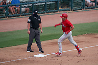 Philadelphia Phillies Nick Maton (67) rounds the bases after hitting a home run as umpire Jeremy Riggs makes sure he touches the base during a Major League Spring Training game against the Baltimore Orioles on March 12, 2021 at the Ed Smith Stadium in Sarasota, Florida.  (Mike Janes/Four Seam Images)