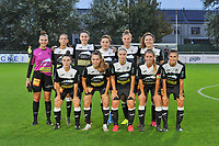 Aalst's goalkeeper Silke Baccarne (1) , Aalst's forward Anke Vanhooren (7) , Aalst's defender Annelies Van Loock (9) , Aalst's defender Jana Van Der Biest (20) , Aalst's midfielder Margaux Van Ackere (37) , Aalst's midfielder Laurence Marchal (31) and Aalst's defender Lieselot De Kegel (15) , Aalst's defender Tiffanie Vanderdonckt (5) , Aalst's forward Stephanie Van Gils (27) , Aalst's defender Chloe Van Mingeroet (17) , Aalst's forward Anaelle Wiard (16) pictured during a female soccer game between  AA Gent Ladies and Eendracht Aalst on the second matchday of the 2020 - 2021 season of Belgian Scooore Womens SuperLeague , friday 4 th of september 2020  in Oostakker , Belgium . PHOTO SPORTPIX.BE | SPP | STIJN AUDOOREN