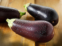 Whole fresh aubergines