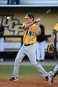 Siena Saints assistant coach Elliot Glynn (44) during warmups before the season opening game against the Central Florida Knights at Jay Bergman Field on February 14, 2014 in Orlando, Florida.  UCF defeated Siena 8-1.  (Copyright Mike Janes Photography)