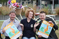 NO REPRO FEE. 8/6/2011.Dublin's Bike to Work Day. Ciaran Fallon DCC cycling officer with Dublin's 98FM DJ Claire Solan and co-host Aidan Power are pictured at Grand Canal Dock launching Bike to Work Day, they took a spin around Dublin Docklands on Dutch bicycles to prepare for the lunchtime cycle on June 22nd, at which all workers who cycle to their place of employment will be encouraged to take part.Win one of 500 goodie bags by registering to attend the event @ www.dublincitycycling.ie. Prizes for best dressed will also be presented following the cycle For further information contact:Emer O'Reilly, Limelight Communications E: emer.oreilly@limelight.ie T: 01 6680600 /0868593658. Picture James Horan/Collins Photos