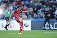 Antoine Dupont (c) of Toulouse sends the ball into the stands to win the Heineken Champions Cup Final match between La Rochelle and Toulouse at Twickenham Stadium on Saturday 22 May 2021 (Photo by Rob Munro/Stewart Communications)