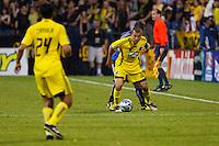 27 MAY 2009: #24 Jed Zayner, Columbus Crew defender and #10 Alejandro Moreno, Columbus Crew forward in action during the San Jose Earthquakes at Columbus Crew MLS game in Columbus, Ohio on May 27, 2009. The Columbus Crew defeated San Jose 2-1