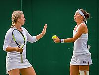 London, England, 4 th. July, 2018, Tennis,  Wimbledon, Woman's doubles: Ysaline Bonaventure (BEL) and Bibiane Schoofs (NED) (R)<br /> Photo: Henk Koster/tennisimages.com