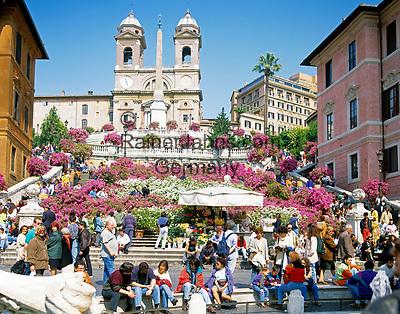 ITA, Italien, Lazio, Rom: Spanische Treppe und Kirche Trinita dei Monti   ITA, Italy, Lazio, Rome: Spanish Steps and church Trinita dei Monti