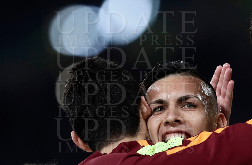 Calcio, Serie A: Roma, stadio Olimpico, 19 febbraio 2017.<br /> Roma's Leandro Paredes (r) celebrates with his teammate Diego Perotti (l) after scoring during the Italian Serie A football match between As Roma and Torino at Rome's Olympic stadium, on February 19, 2017.<br /> UPDATE IMAGES PRESS/Isabella Bonotto