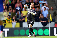28th August 2021; Carrow Road, Norwich, Norfolk, England; Premier League football, Norwich versus Leicester; Kasper Schmeichel of Leicester City throws the ball back into play
