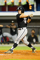 Chase Blackwood #26 of the Bristol White Sox follows through on his swing against the Burlington Royals at Burlington Athletic Stadium August 13, 2010, in Burlington, North Carolina.  Photo by Brian Westerholt / Four Seam Images