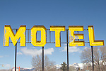 Motel sign, Mining towns, Main Street, USA, Ely, Nevada, the town's economy is dependent on an open pit copper mine operated by Robinson Nevada Mining Company