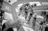 Mark Cavendish (GBR/OmegaPharma-Quickstep) slinging teammate Iljo Keisse (BEL/OmegaPharma-Quickstep) into battle<br /> <br /> Gent 6 - day 4
