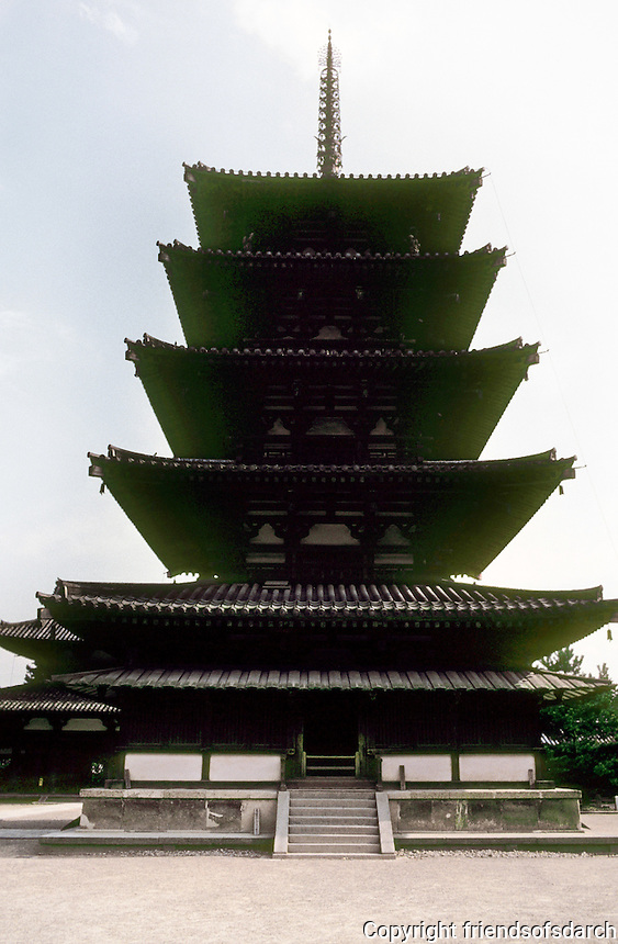 Nara: Horyuji--5 storied pagoda. Photo '82.
