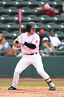 Hickory Crawdads Designated Hitter Matt Whatley (19) bats during the game with the Charleston Riverdogs at L.P. Frans Stadium on May 12, 2019 in Hickory, North Carolina.  The Riverdogs defeated the Crawdads 13-5. (Tracy Proffitt/Four Seam Images)
