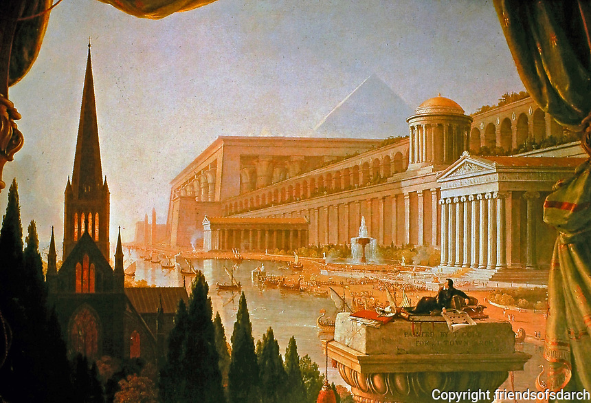 """""""The Architect's Dream""""-- an 1840 oil painting created by Thomas Cole for New York architect Ithiel Town. Original located in Museum of Art, Toledo."""
