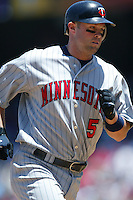 Michael Cuddyer of the Minnesota Twins during a 2007 MLB season game against the Los Angeles Angels at Angel Stadium in Anaheim, California. (Larry Goren/Four Seam Images)